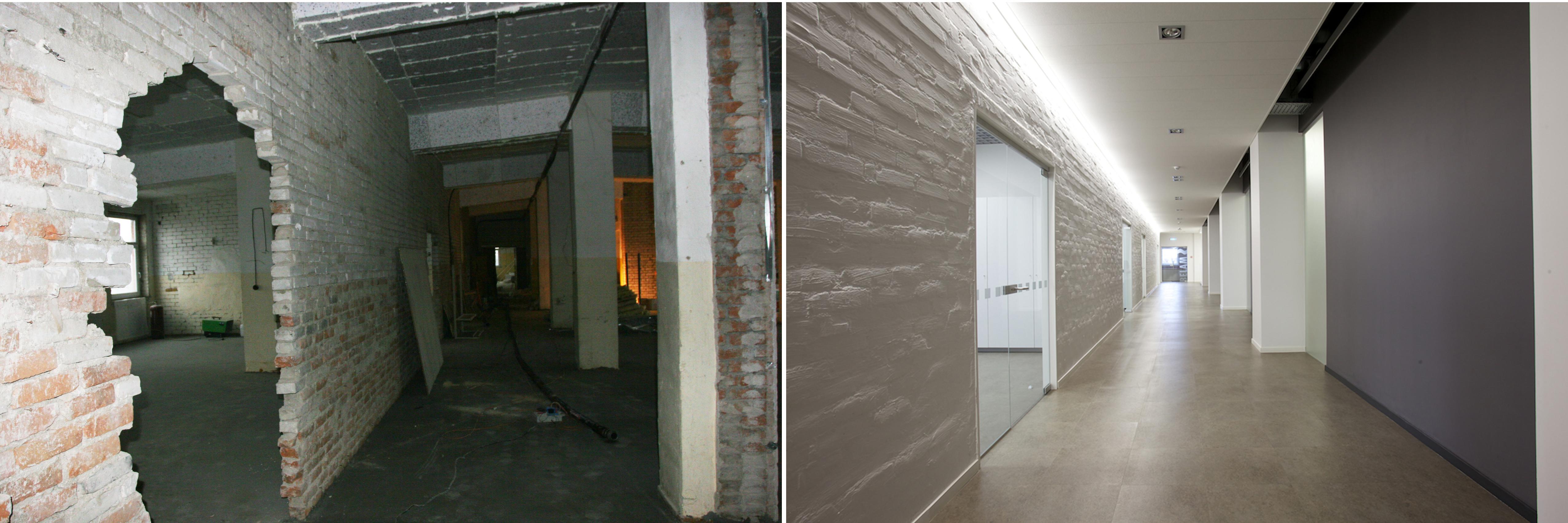 Koridoriaus vaizdas Belam biuro interjeras prieš ir po