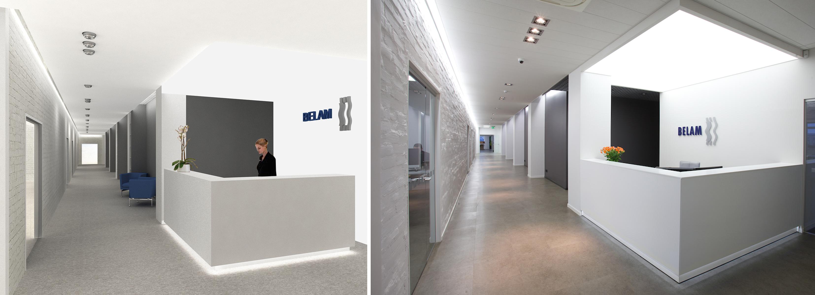 Biuro interjero projektas - vizualizacija ir galutinis vaizdas